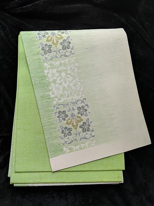 Lime Green & White Fukuro Obi