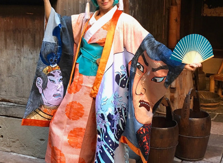 She painted her own Japanese kimono...