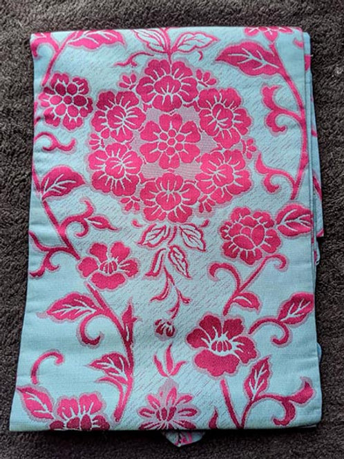 vintage teal nagoya obi for kimono