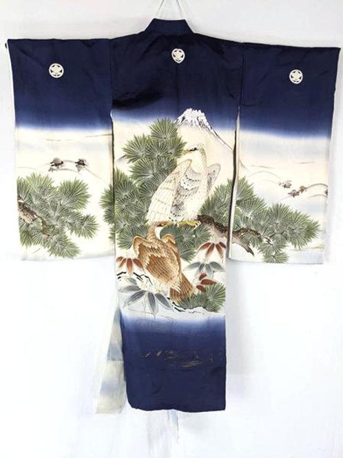 Navy Blue & White Boy's Kimono