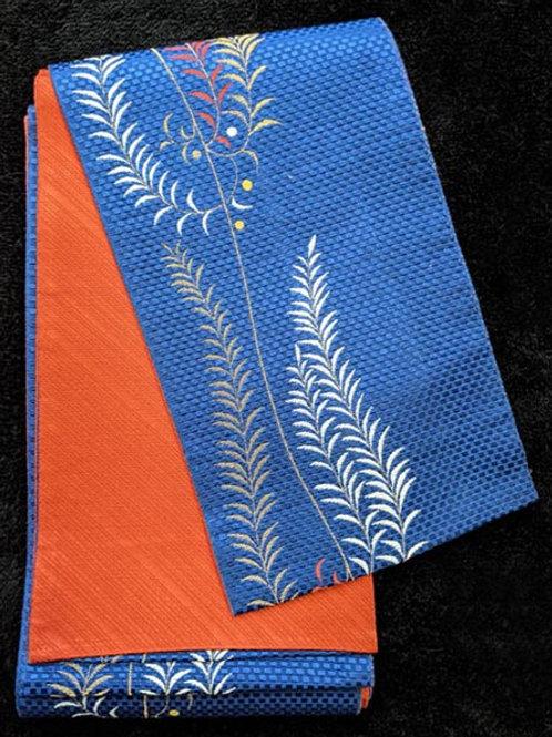 blue and orange hanhaba obi for yukata