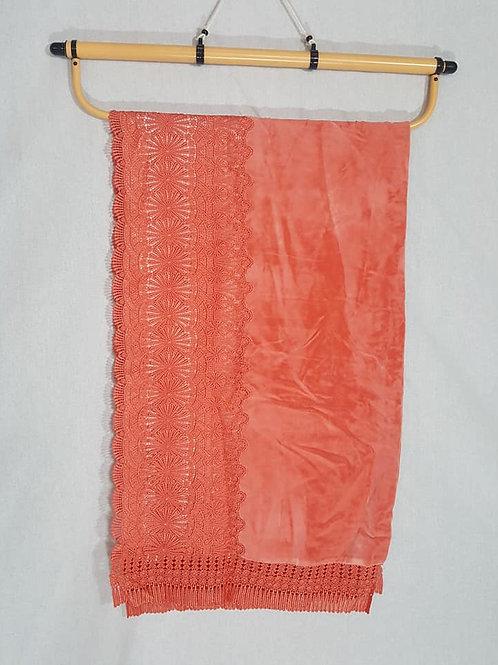peach velvet kimono shawl