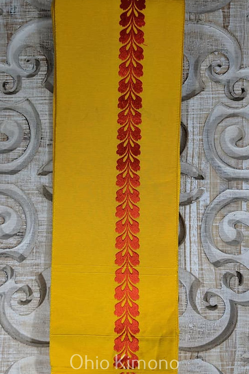 Cheerful Yellow & Red Hanhaba Obi