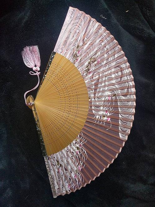 Pink & White Folding Fan