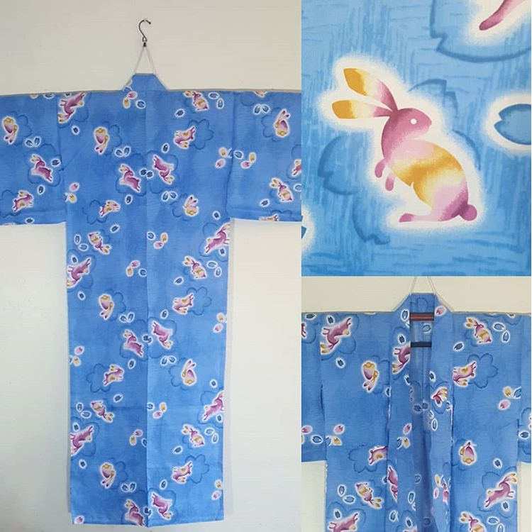 blue yukata with rabbits