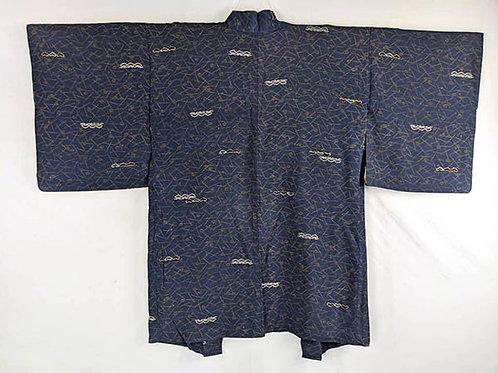 haori blue silk