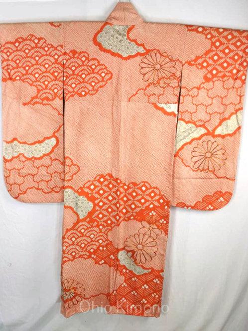 furisode orange and white shibori