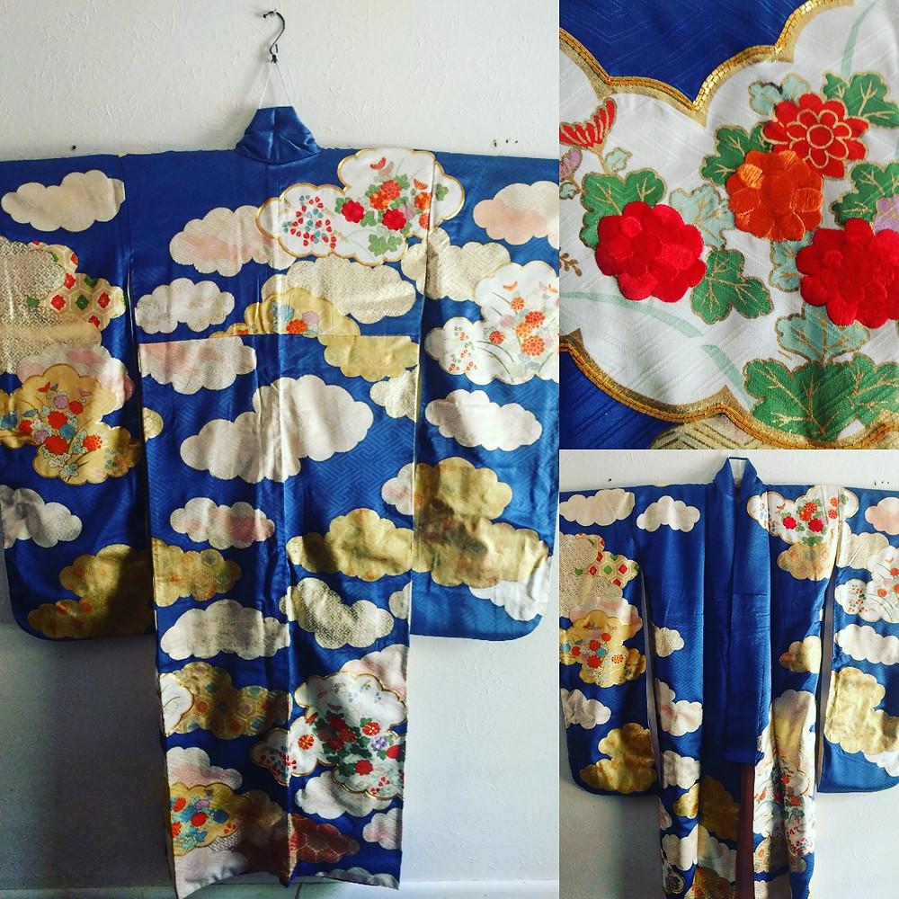 Japanese Silk Blue Furisode