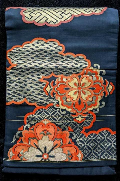 black nagoya obi for japanese kimono