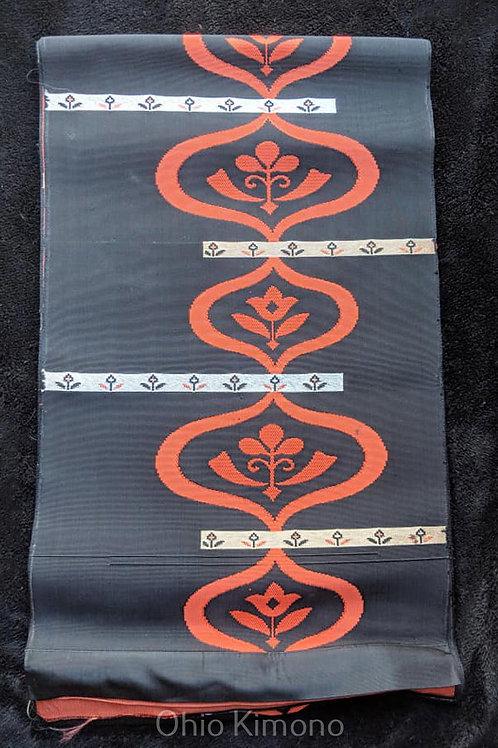 Black & Orange Fukuro Obi