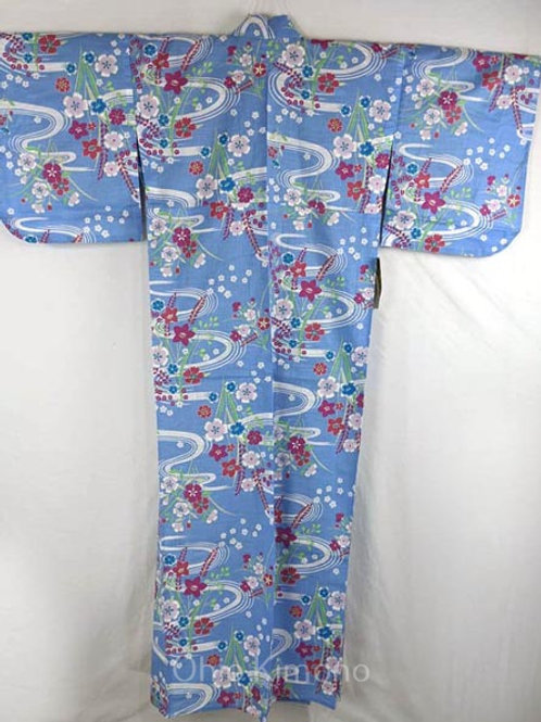 blue yukata with flowers