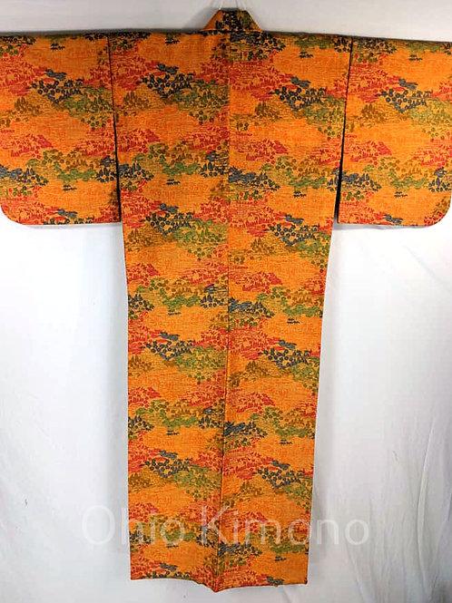 Orange & Blue Japanese Kimono