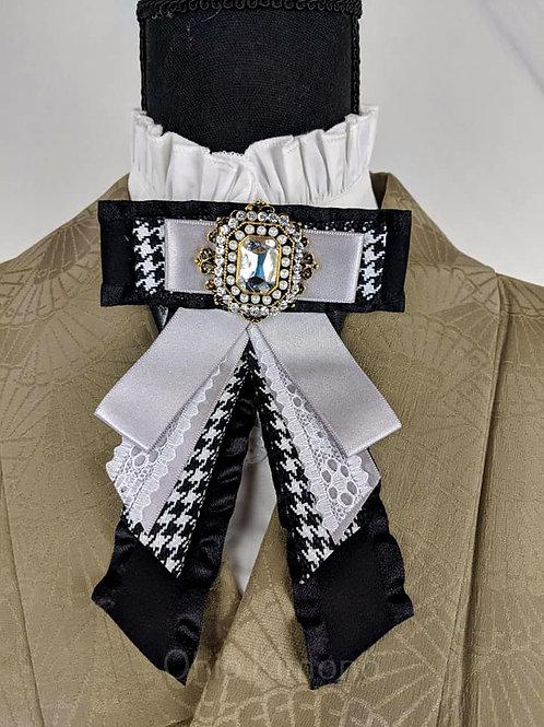 Silver & Black Kimono Brooch Bowtie