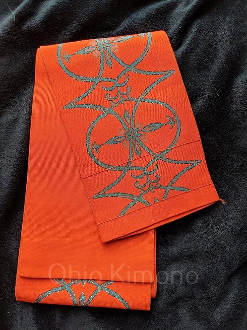 Orange & Stone Green Hanhaba Obi