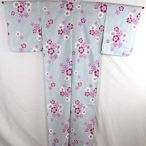 pale blue and hot pink modern cotton yukata