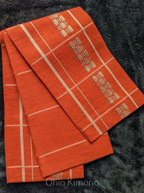 orange obi for japanese kimono