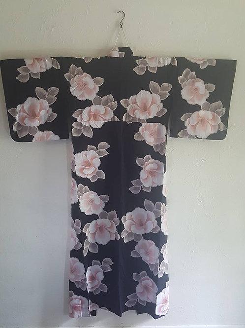 Black Yukata Japanese Kimono