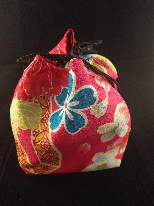 Kinchaku - Red Floral Kimono Draw String Bag