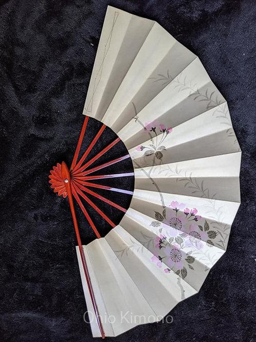 Off-White & Pink Japanese Fan
