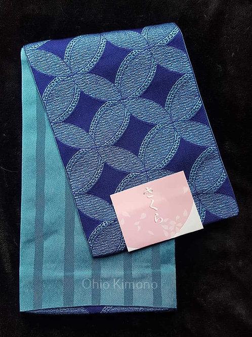 blue obi for japanese kimono