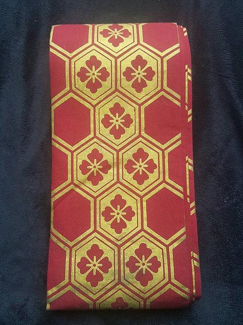 Red & Gold Hanhaba Obi