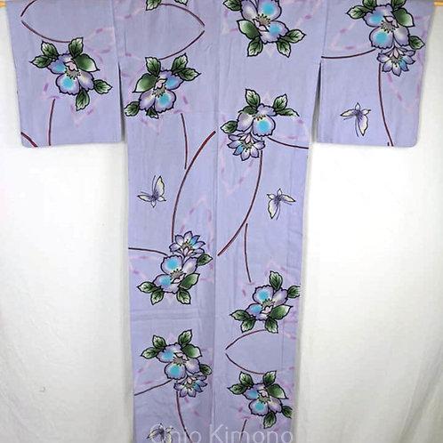 yukata with butterflies lavender purple color