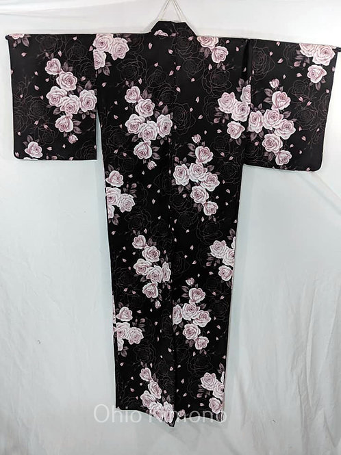 black yukata with roses