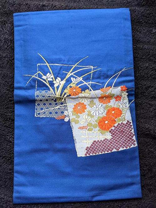 blue floral nagoya obi for kimono