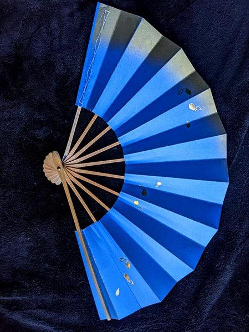 Royal Blue & Golden Japanese Fan