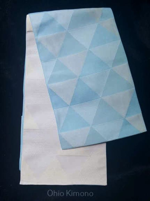 white and baby blue hanhaba obi for yukata