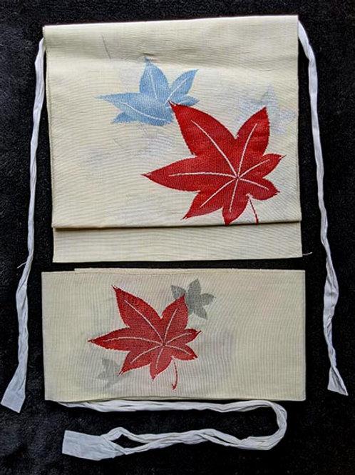 tsuke obi with maple leaves