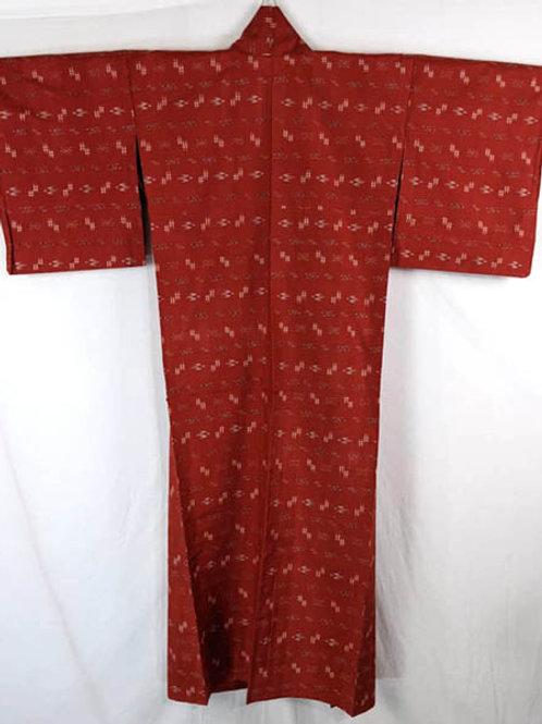 red and white meisen japanese kimono
