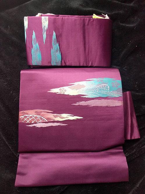 Purple Nagoya Obi For Japanese Kimono