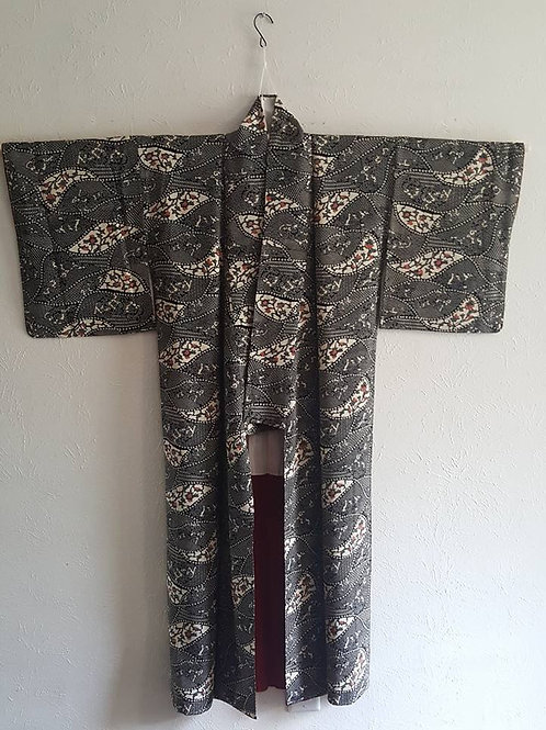 black and white Japanese Kimono