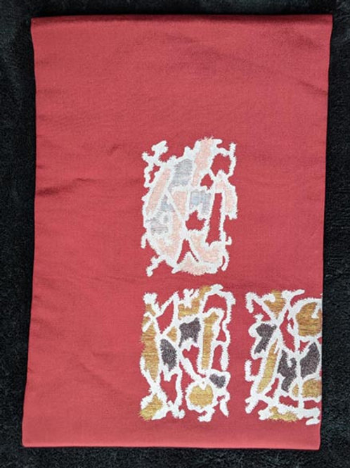 red vintage nagoya obi for japanese kimono