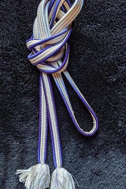 purple and white flat braid obijime