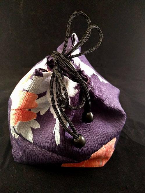 Kinchaku - Purple Kimono Draw String Bag