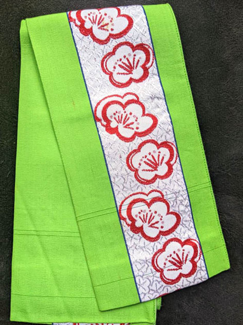 Lime Green & Bold Red Hanhaba Obi