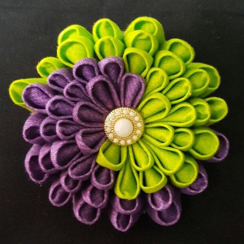 Large Green And Purple Swirl Kanzashi