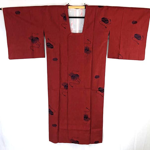 red travel michiyuki coat for Japanese kimono