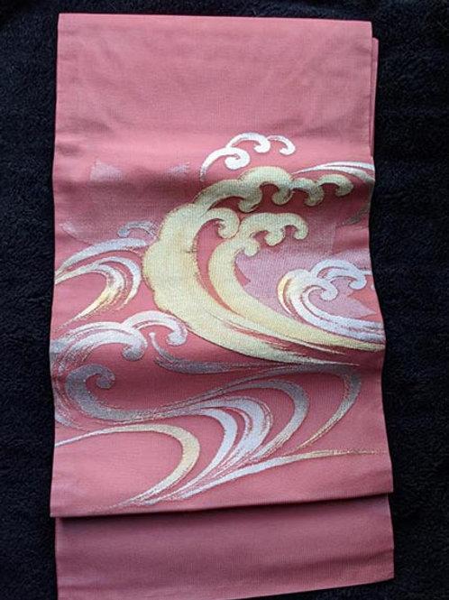 Salmon Pink & Gold Nagoya Obi