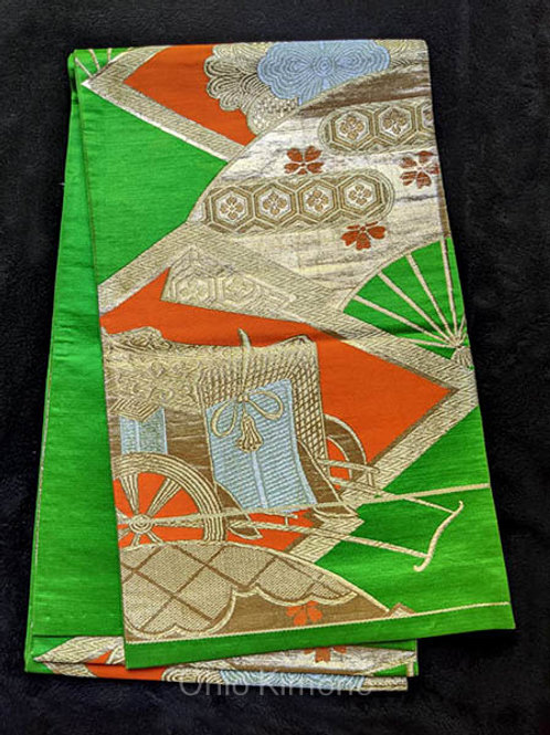 fukuro obi green and gold