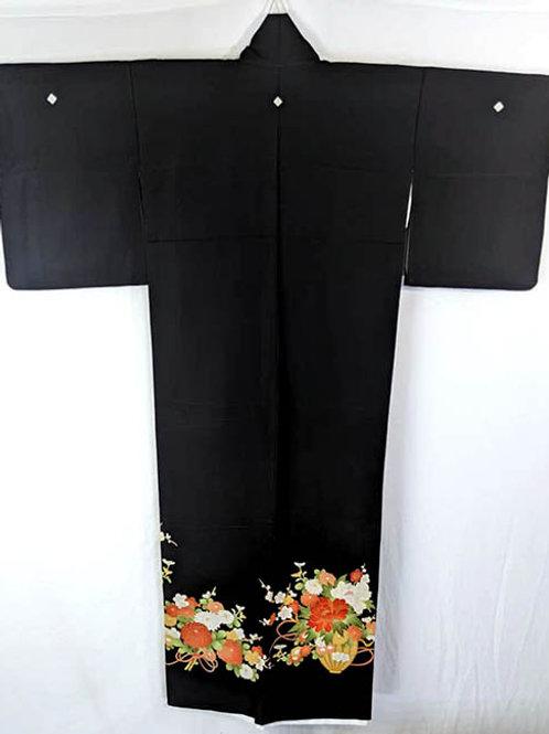black formal traditional kimono from japan