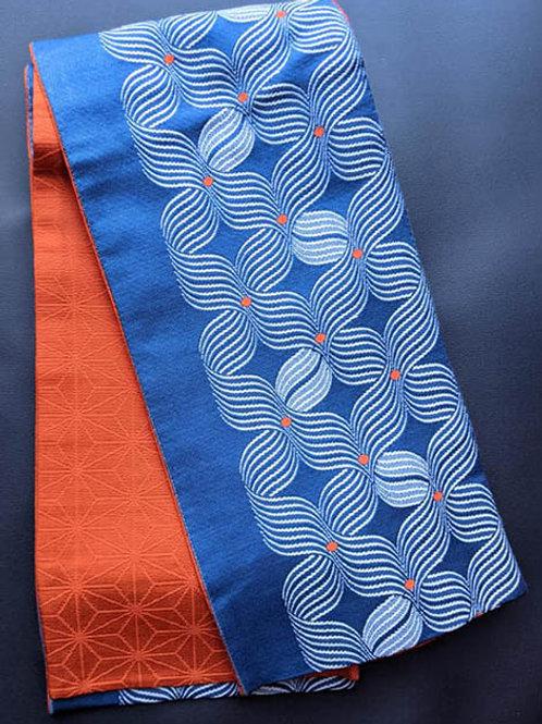 Royal Blue & Rustic Orange Hanhaba Obi