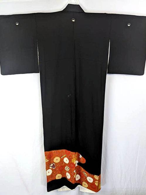 black tomesode formal kimono for women
