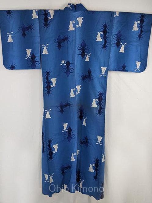 blue yukata rabbits
