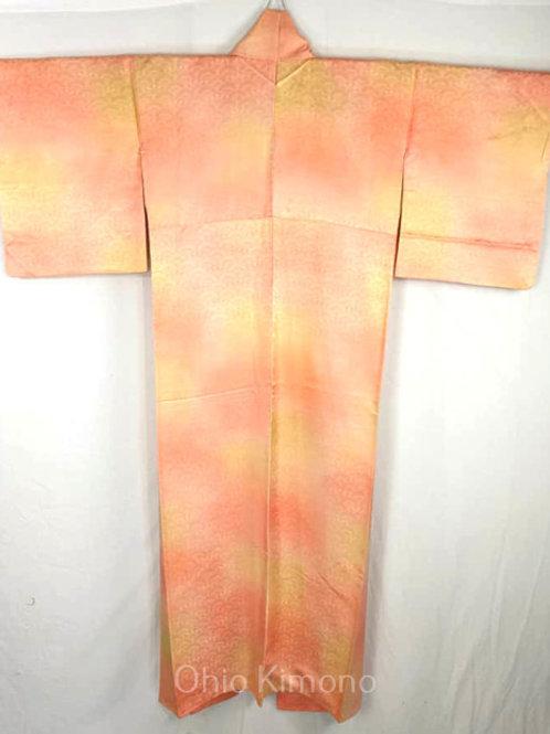 Peach & Golden Yellow Japanese Kimono