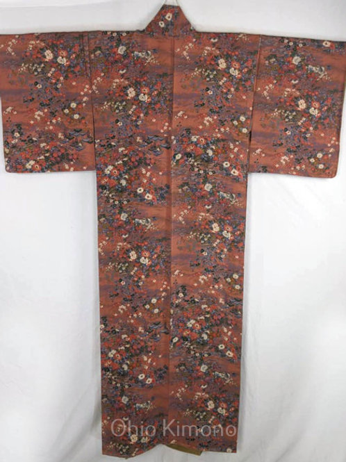 dark floral women's japanese kimono