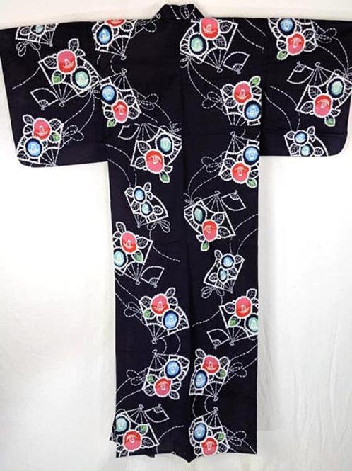 vintage navy blue yukata kimono