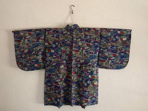 Blue Antique Haori For Japanese Kimono